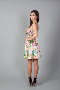 Rochie din brocart multicolor